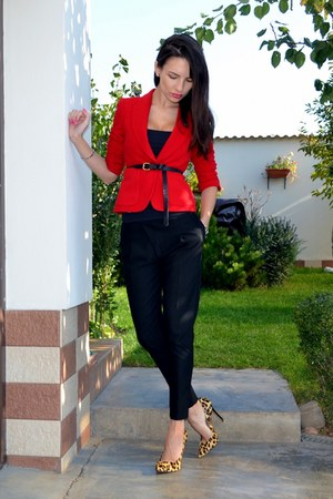 red Zara blazer - black guara pants