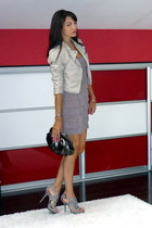 periwinkle H&M jacket - dark khaki nadine dress - silver Musette bag