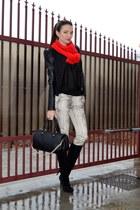 red Zara scarf - black Vero Moda jacket