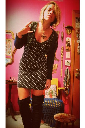 black polkadot Forever 21 dress - black leather thrifted vintage jacket