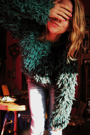 teal shag vintage sweater