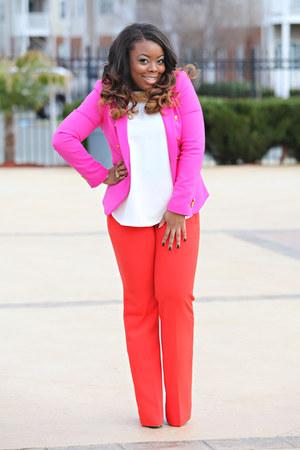 carrot orange ann taylor pants - hot pink Zara blazer - white Zara shirt