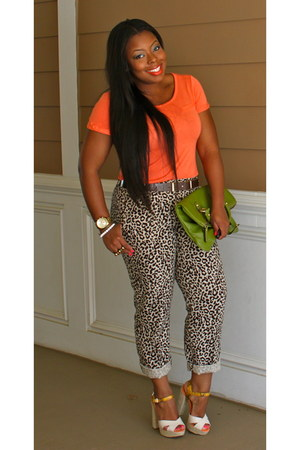 carrot orange Gap shirt - green Nine West bag - leopard print J Crew pants