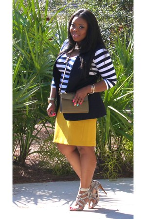mustard pencil skirt Loft skirt - navy striped t-shirt BCBG top