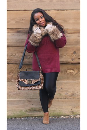 camel ann taylor scarf - light brown Steve Madden boots - maroon vintage sweater
