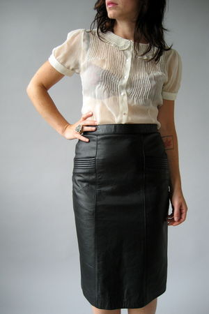 black Naked Vintage skirt - beige vintage blouse - white H&M accessories