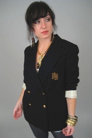 blue Ralph Lauren blazer - gold accessories