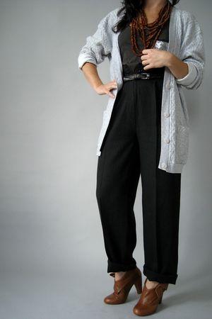 gray Naked Vintage cardigan - black Naked Vintage pants - brown Jeffrey Campbell