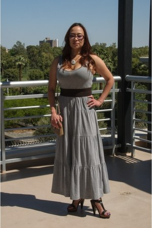 grey cotton H & M dress - versace sunglasses