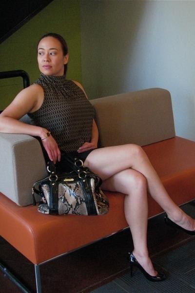 Jones New York blouse - leather Michael Kors bag - black cotton Express skirt