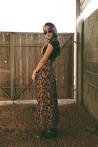 salmon floral print vintage skirt - black black H&M boots