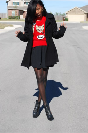 red kitten Target sweater - black litas Jeffrey Campbell boots