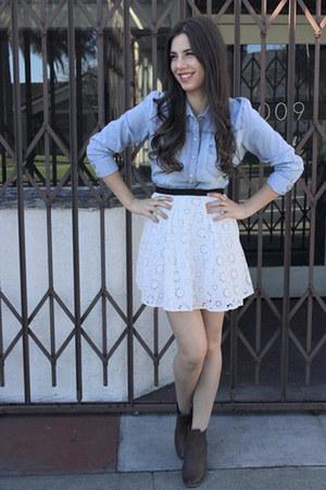eyelet design sugarlipscom skirt - H&M boots - Forever21 shirt