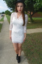 GoJane boots - lace asos dress - Forever 21 hat