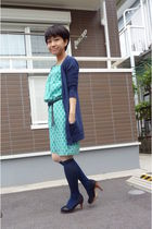 blue Topshop cardigan - green dress - blue socks - black shoes