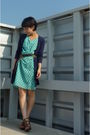Green-dress-blue-topshop-cardigan-belt-nine-west-shoes