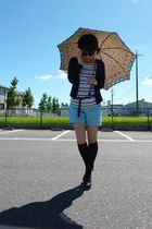 t-shirt - black cardigan - blue H&M shorts - black socks - black belt