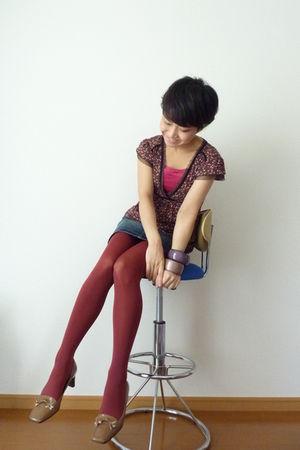 camel shoes - red tights - brown polka dot max&co top - bangles