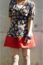 Brown-max-co-top-orange-h-m-skirt-brown-shoes-beige