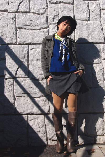 blue sweater - gray boots - black coat - blue scarf