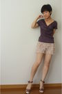 Zara-shorts-banna-republic-necklace-brown-top-brown-shoes