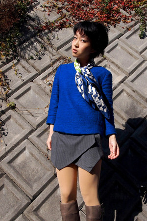 gray boots - blue scarf - gray origami skort Sheinside shorts