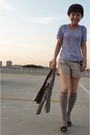 Purple-banana-republic-top-gray-jill-stuart-shorts-gray-jacket-silver-sock