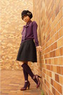 Purple-laura-ashley-scarf-purple-anayi-cardigan-black-jillstuart-skirt-bla