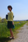 Dark-green-lace-zara-dress-light-yellow-icb-sweater-blue-tiffany-co-bag