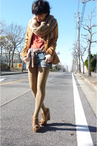 tawny vintage blazer - brown wedges shoes - camel thick tights - camel scarf
