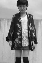black kimono Zara blazer - ivory lace from japan top - denim Gap skirt