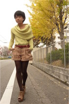 red ICB belt - brown esperanza shoes - light yellow ICB sweater - brown tights