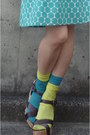 Turquoise-blue-polka-dots-from-japan-dress-light-yellow-tabio-socks