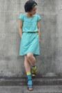 Turquoise-blue-polka-dots-from-japan-dress-light-yellow-tabio-socks