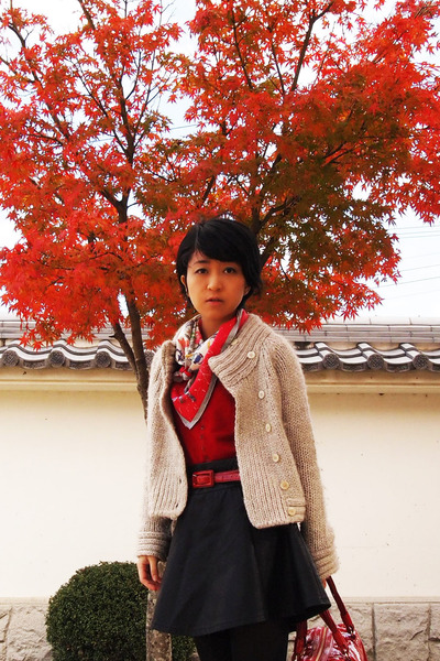 red Hermes scarf - cream knitted jacket - ruby red from japan sweater