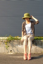 lime green straw hat - light brown cardigan - light blue Uniqlo t-shirt
