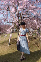 light blue vintage dress - heather gray jacket - red belt