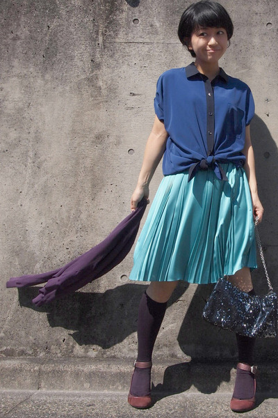 purple knee high socks - black sequined bag - turquoise blue pleated skirt