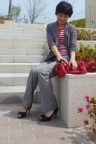 red bag - heather gray from japan blazer - heather gray Gap pants