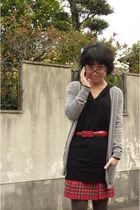 heather gray Jcrew cardigan - black Uniqlo dress - red skirt - red belt