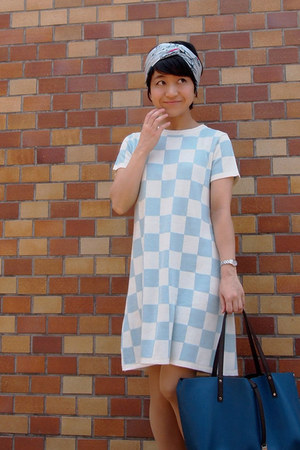 teal Tiffany&Co bag - light blue checkered asos dress - sky blue Hermes scarf