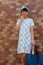teal Tiffany&Co bag - light blue checkered asos dress - sky blue Hermes scarf