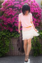eggshell fringed skirt - light pink Theory sweater - army green blazer