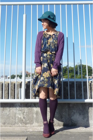 navy floral Mango dress - teal felt from japan hat - purple socks