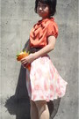 Orange-bow-from-japan-blouse-brown-belt-ivory-paisley-skirt-lace-up-wedges