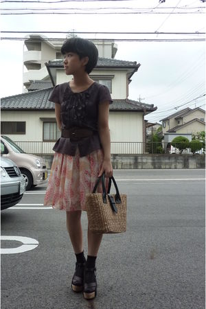brown ANAYI from Japan top - brown belt - skirt - socks