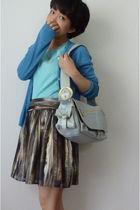 blue banana republic top - H&M skirt - blue Francesco Biasia purse - blue from j