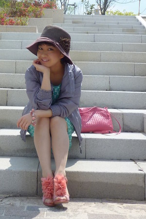 pink from japan heels - aquamarine polka dots dress - light brown hat