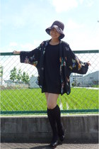 black kimono Zara jacket - black Gap dress - black from japan hat