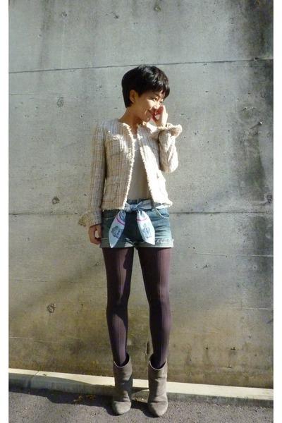 gray boots - gray tights - blue shorts - gray Uniqlo t-shirt - jacket - Hermes s